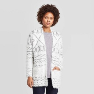 Knox Rose Women's Printed Long Sleeve Eyelash Cardigan Sweater -  White Small